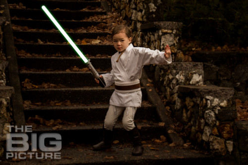 Jade the Jedi, child Padawan, girl padawan with lightsaber in ancient ruins - Children's Photography