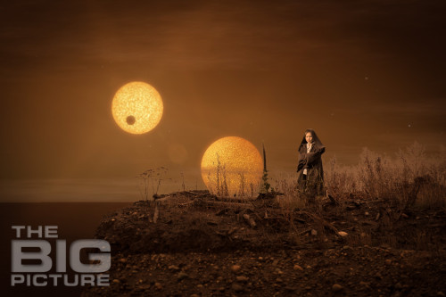 Jade the Jedi, Girl Jedi on Tatooine, two moons, composite picture, Star Wars Photoshp - Children's Photography - Composite Image - Tatooine