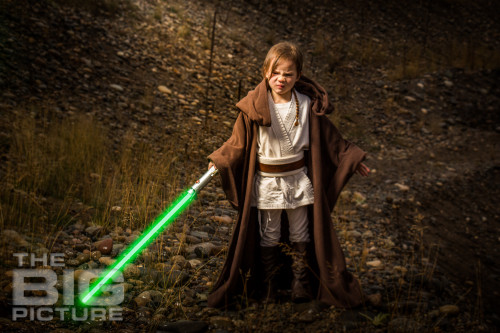 Jade the Jedi, angry girl Jedi with drawn lightsaber, green lightsaber - Children's Photography